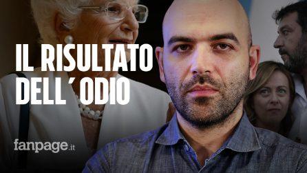 """Roberto Saviano: """"Salvini, Meloni ci fate schifo: la scorta a Liliana Segre è colpa vostra"""""""
