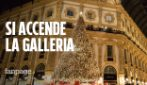 Milano, si accende l'albero di Natale in Galleria Vittorio Emanuele II: spettacolo di luci e musica