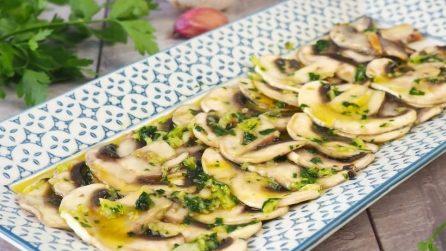 Champignon crudi marinati: la ricetta del contorno sfizioso