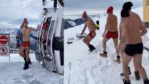 Hamsik in mutande sulla neve: la sfida con degli amici in montagna