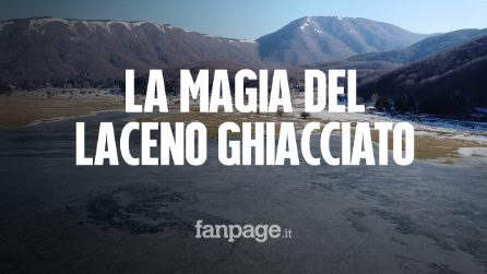 La magia del lago Laceno (Avellino) completamente ghiacciato vista col drone