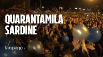 """Sardine a Bologna: """"Siamo 40mila, abbiamo fatto politica con l'arte"""""""