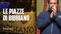 """Bibbiano, in piazza più sardine che leghisti. Salvini: """"Cancelleremo gli spacciatori dalla terra"""""""