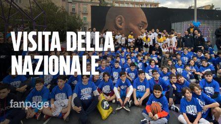 La Nazionale di Basket a Napoli visita il campetto dedicato a Kobe Bryant