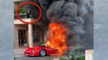 Montecarlo, Ferrari F40 va a fuoco: occhio all'uomo sul balcone