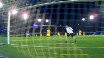 Champions Napoli-Barcellona, il gol del vantaggio di Mertens
