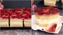 Quadrados cremosos de morango: o doce fresco e delicioso perfeito para qualquer ocasião!