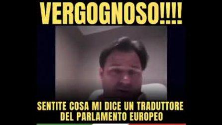Interprete dimentica microfono acceso: insulti mentre parla un europarlamentare della Lega