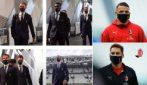 Juventus-Milan, l'arrivo surreale delle squadre con le mascherine griffate