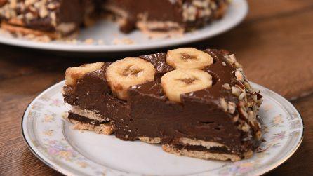 Torta budino al cioccolato e banana: senza cottura, facile e golosa!