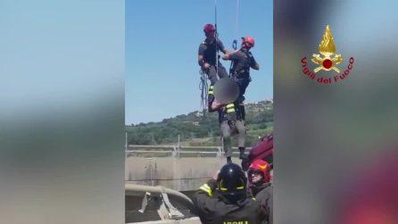 Tir in bilico su viadotto A12: il salvataggio dell'autista da parte dei pompieri