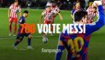 Messi da leggenda: segna il gol numero 700 con un cucchiaio in Barcellona-Atletico Madrid