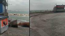 Napoli, la furia del maltempo: vento forte sul lungomare