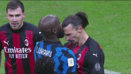 Ibrahimovic e Lukaku, lo scontro durante il derby Inter-Milan