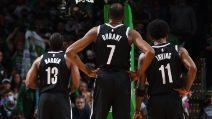 Boston-Brooklyn 126-141, KD, Harden e Irving segnano 104 punti in 3