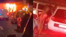 Un incendio sul Grande Raccordo Anulare, una donna scende dall'auto e inizia a twerkare
