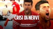 Sputo, urla e calci: crisi di nervi per Djokovic nel match contro Berrettini al Roland Garros