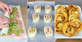 Girelle filanti di pasta sfoglia e zucchine: la ricetta semplice e veloce per un antipasto delizioso