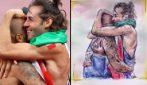 L'abbraccio tra Tamberi e Jacob diventa un bellissimo disegno