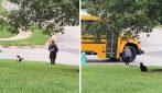 Gattino adottato dalla bambina: ogni mattina la accompagna alla fermata dello scuolabus