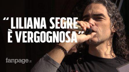 """Il video del manifestante che attacca Liliana Segre: """"Vergognosa, dovrebbe sparire"""""""